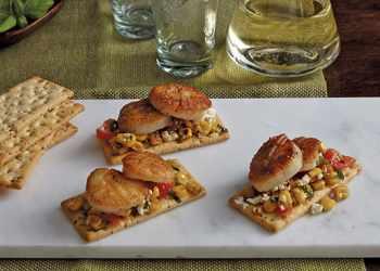 Recipe Sauteed Corn, Feta, Cherry Tomato and Scallop Crackers