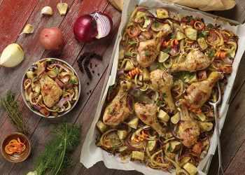 Recipe Easy Drumstick-Quinoa Sheet Pan Supper