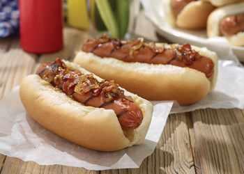 Recipe Smoked Sausage Links with Bacon and Onion Marmalade