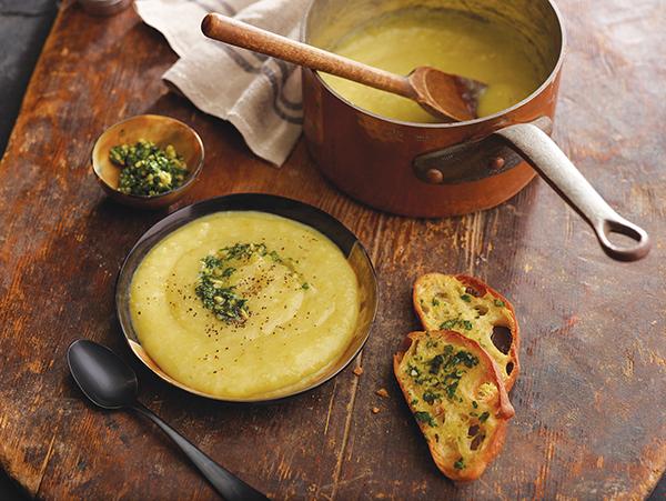 736 Recipe Rustic Tuscan Potato Leek Soup with Olive Oil Pesto