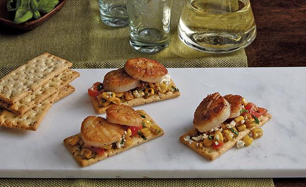 1148 Recipe Sauteed Corn, Feta, Cherry Tomato and Scallop Crackers