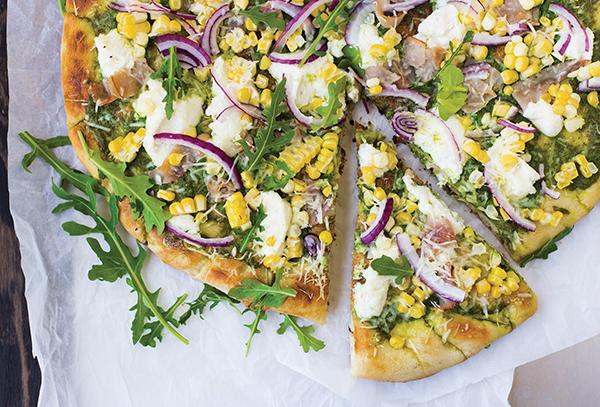 1359 Recipe Grilled Pizza with Arugula Pesto, Corn and Ham