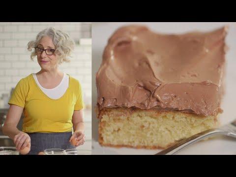 1584 Vanilla Sheet Cake with Chocolate-Ganache Buttercream - Everyday Food with Sarah Carey